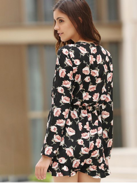 outfits Lace-Up Floral Print Plunging Neck Long Sleeve Playsuit - BLACK M Mobile