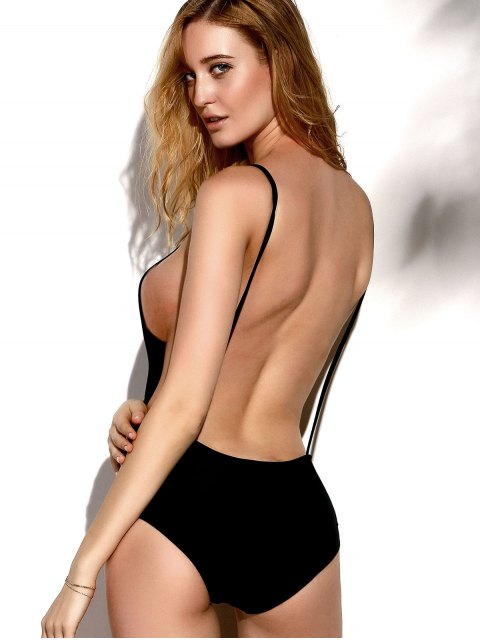 unique Backless Solid Color Straps One-Piece Swimwear - BLACK L Mobile