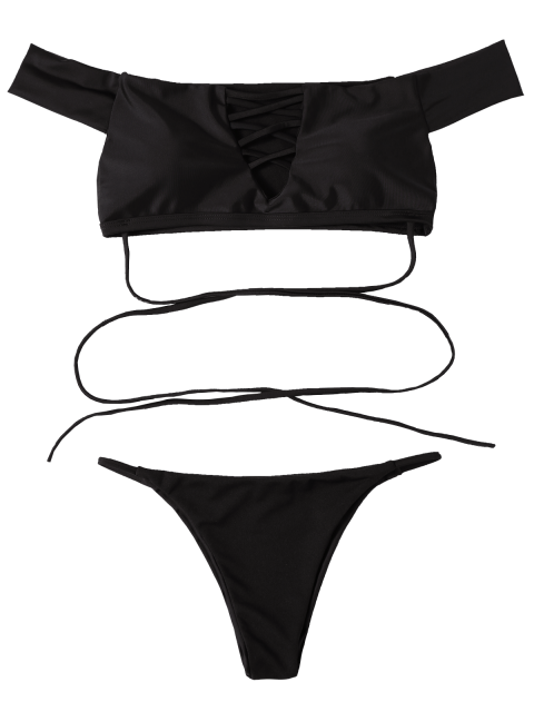 trendy Lace-Up Off The Shoulder Bikini Set - BLACK M Mobile