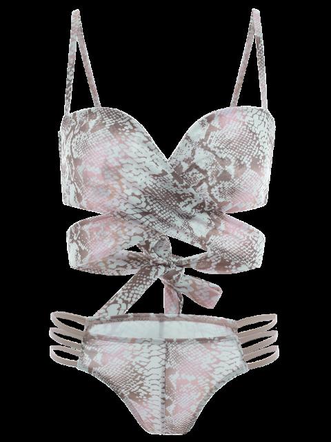 affordable Python Print Wrap Bikini - MULTICOLOR M Mobile