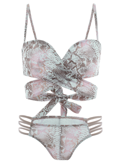 buy Python Print Wrap Bikini - MULTICOLOR S Mobile