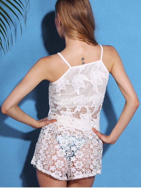 affordable Lace Hollow Out Cover Up Shorts - WHITE XL Mobile