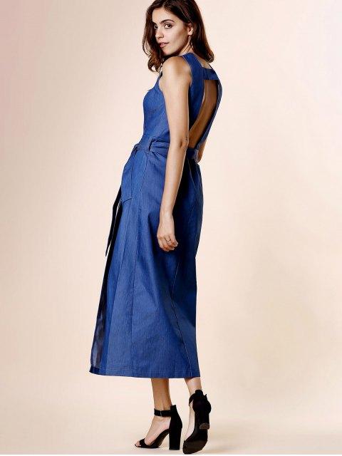 womens High Slit Plunging Neck Sleeveless Denim Dress - BLUE L Mobile