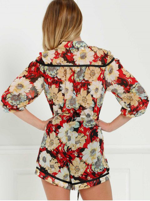 shop Floral V-Neck 3/4 Sleeve Romper - COLORMIX M Mobile