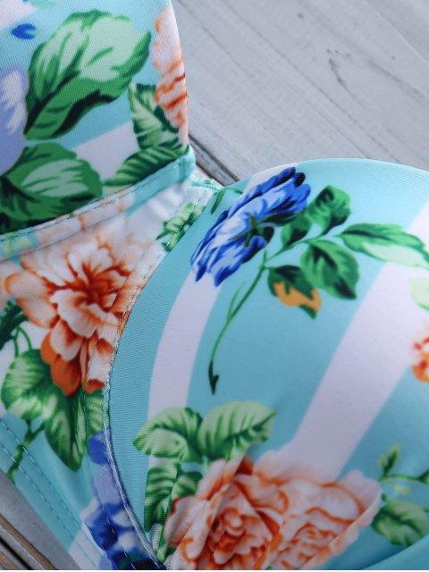 fancy Floral Halter High Waist Bikini Set - COLORMIX L Mobile
