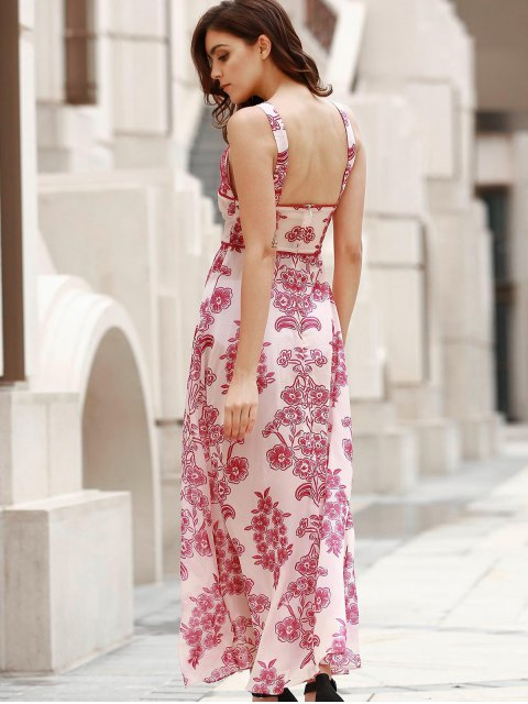 latest Waist Cutout Maxi Beach Dress - RED WITH WHITE S Mobile