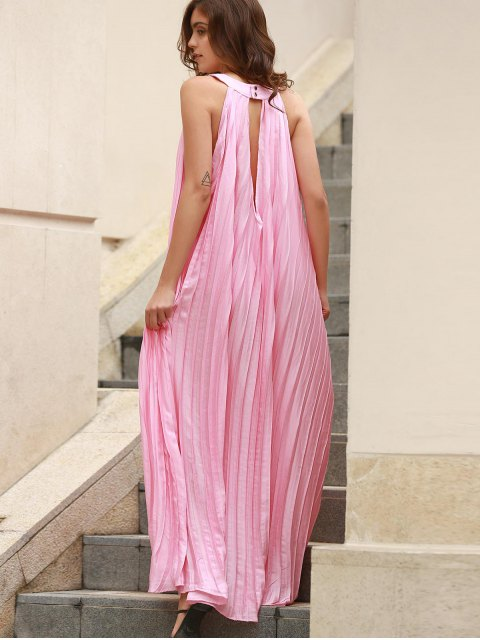 fancy Pleated Flared Long Dress - PINK ONE SIZE(FIT SIZE XS TO M) Mobile