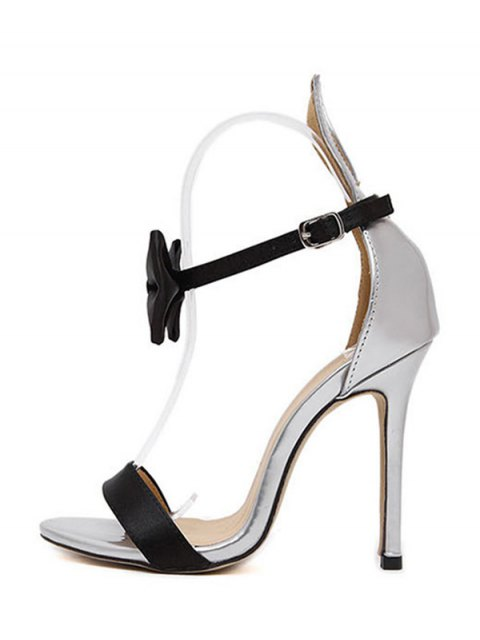 online Bow Bunny Ear Stiletto Heel Sandals - SILVER 39 Mobile