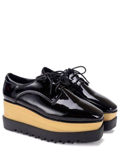 fashion Black Lace-Up Patent Leather Platform Shoes - BLACK 37 Mobile