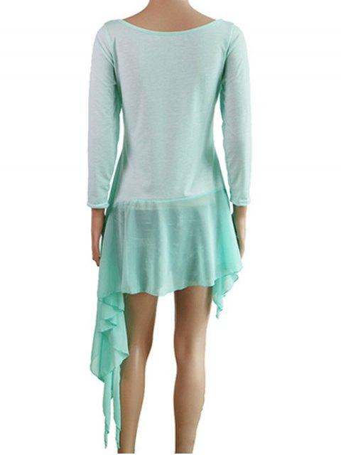 affordable Irregular Hem Chiffon Splice Scoop Neck Dress - LAKE BLUE M Mobile