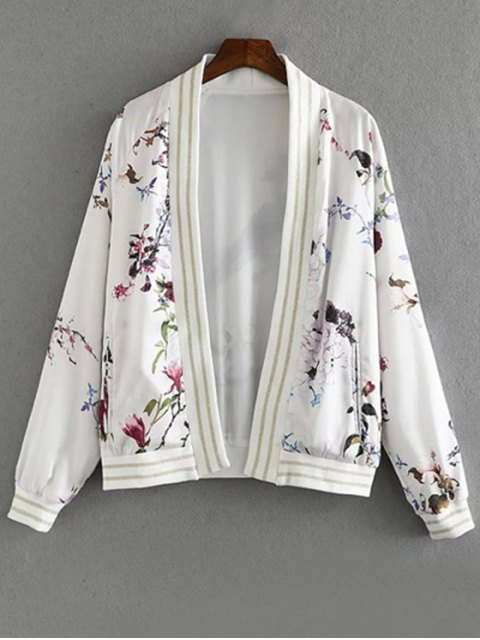 buy Floral Print Stand Collar Long Sleeve Jacket - WHITE L Mobile