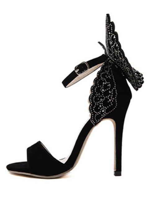 best Wings Rivet Stiletto Heel Sandals - BLACK 40 Mobile