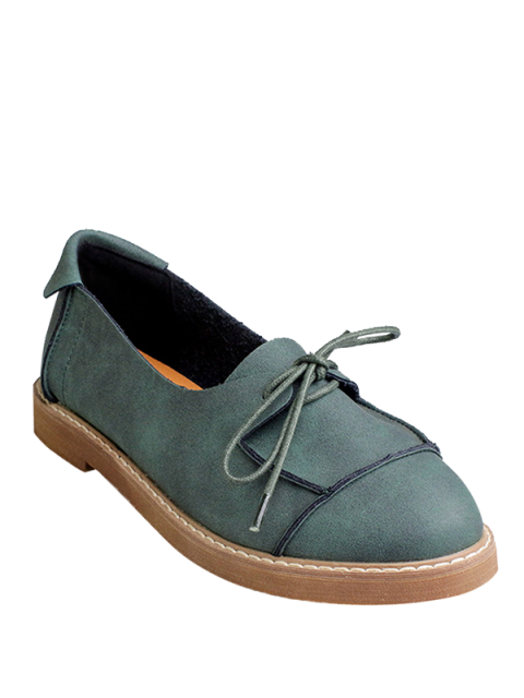 fancy Preppy Lace-Up Flat Shoes - GREEN 37 Mobile