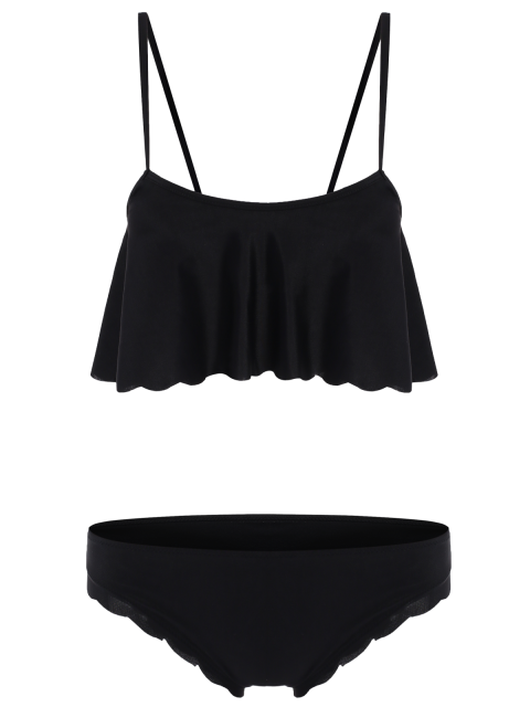 latest Black Cami Ruffles Bikini Set - BLACK XL Mobile