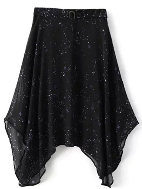shops Galaxy Spaghetti Strap Chiffon Dress - BLACK L Mobile