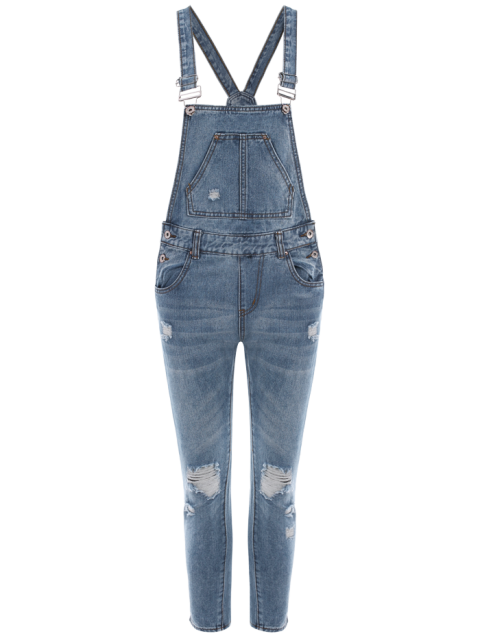 new Bleach Wash Ripped Denim Overalls - BLUE XL Mobile