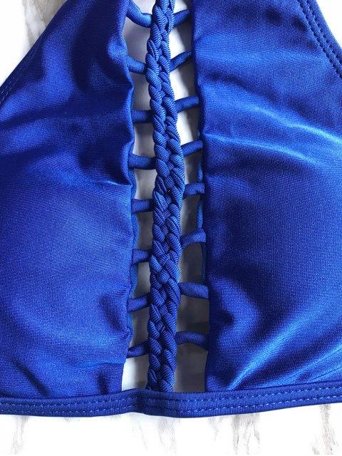 shop High Neck Ladder Cutout Bikini - BLUE L Mobile