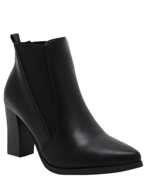 fancy Pointed Toe Chunky Heel Elastic Ankle Boots - BLACK 39 Mobile