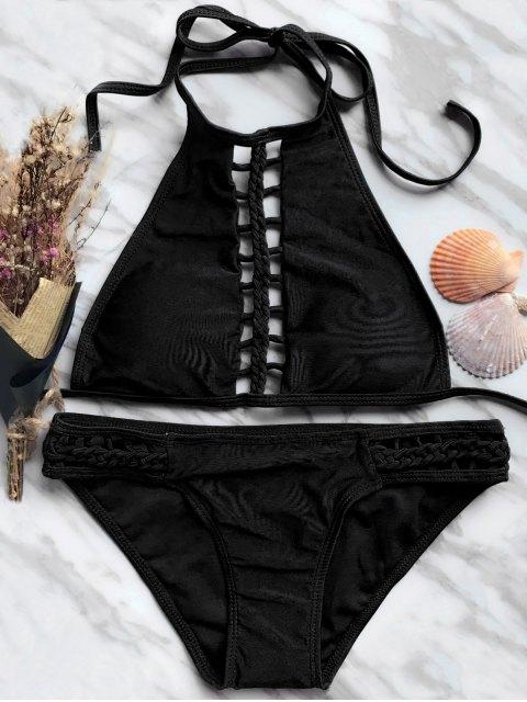 chic High Neck Ladder Cutout Bikini - BLACK S Mobile