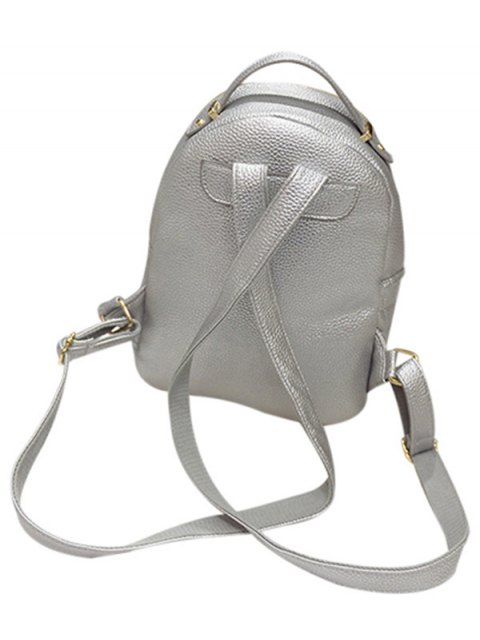unique Embossing Metal Solid Color Satchel - LIGHT GRAY  Mobile