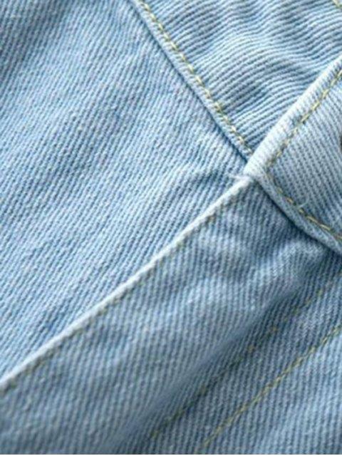 best Broken Hole Boyfriend Jeans - LIGHT BLUE M Mobile
