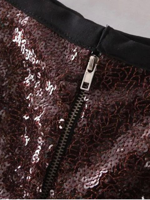 latest Back Zipper Sequins Shorts - DEEP BROWN S Mobile