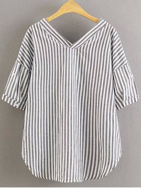 womens Preppy Style Striped Dropped Sleeve Shirt - GRAY M Mobile