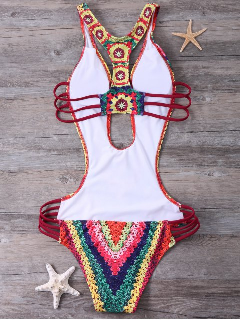 hot Printed High Cut Sexy One Piece Bathing Suit - RED M Mobile