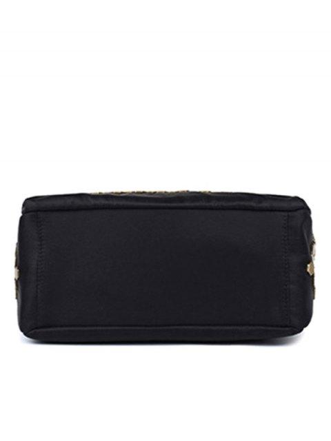 fashion Metallic Zip Black Satchel - BLACK  Mobile