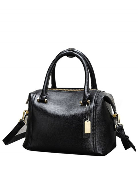 shops PU Leather Candy Color Tote Bag - BLACK  Mobile