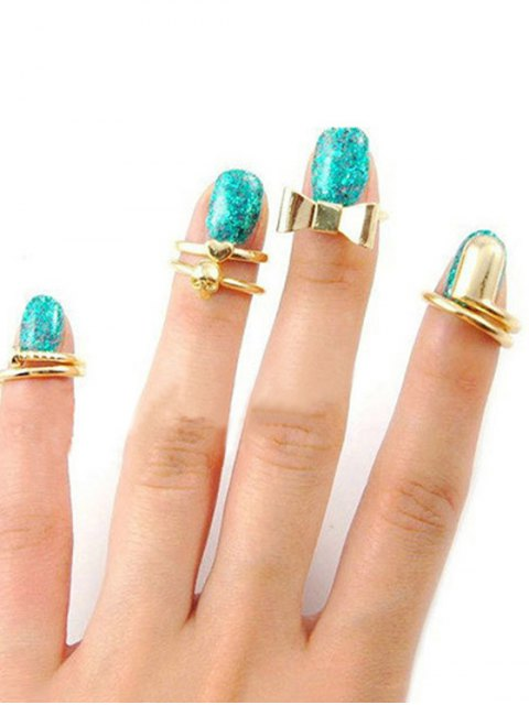shops Bow Skull Embellished Golden Rings - GOLDEN ONE-SIZE Mobile