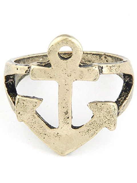 ladies Hollow Out Boat Anchor Shape Ring - GOLDEN ONE-SIZE Mobile