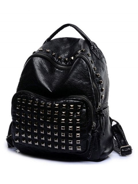 ladies Rivet Solid Color PU Leather Satchel - LIGHT GRAY  Mobile