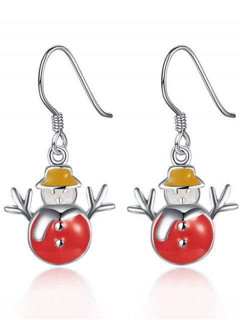 hot Enamel Snowman Christmas Earrings -   Mobile