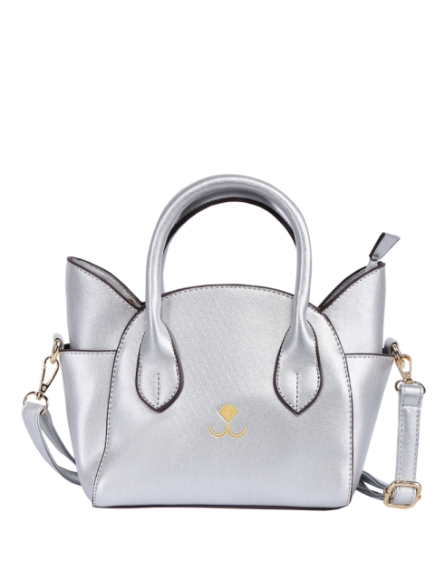 latest Cat Shape Solid Color Tote Bag - SILVER  Mobile