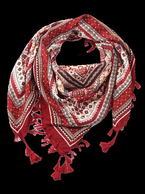 online Totem Pattern Tassel Scarf - WINE RED  Mobile