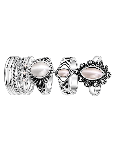 shops Faux Opal Oval Ring Set - SILVER 6 Mobile