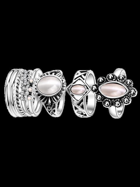 shop Faux Opal Oval Ring Set -   Mobile