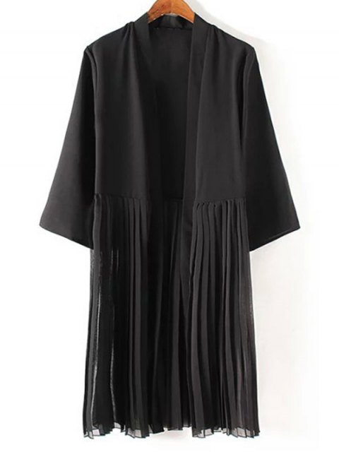 chic Tassels Spliced 3/4 Sleeve Black Coat - BLACK M Mobile