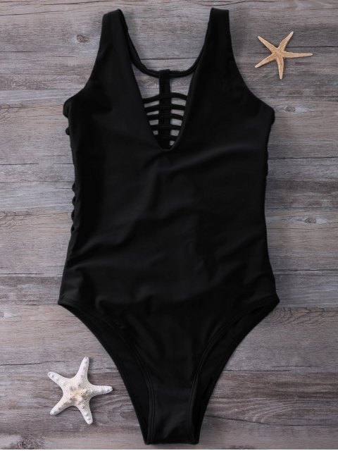 sale Strappy One-Piece Swimwear - BLACK L Mobile