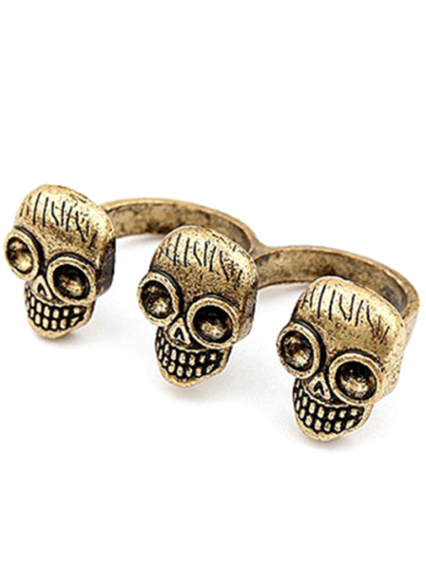 latest Three Skulls Open Double Rings - GOLDEN ONE-SIZE Mobile