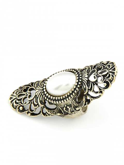 shops Faux Pearl Hollow Out Retro Ring - GOLDEN ONE-SIZE Mobile