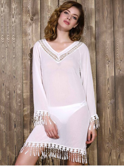 online Cut Out V-Neck Long Sleeve See-Through Chiffon Dress - WHITE XL Mobile