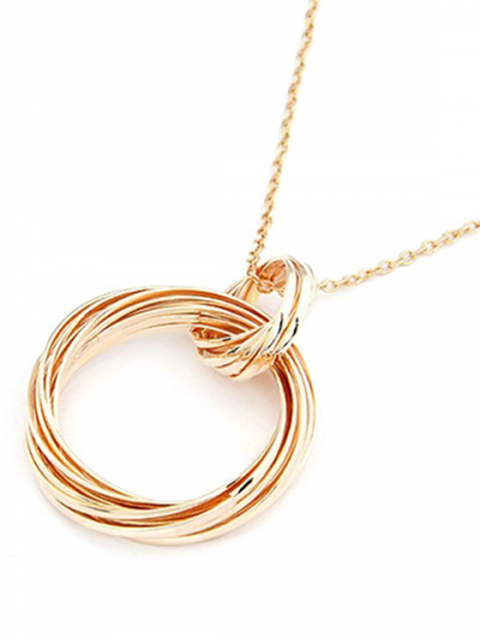 unique Two Hollow Circle Rings Sweater Chain - GOLDEN  Mobile