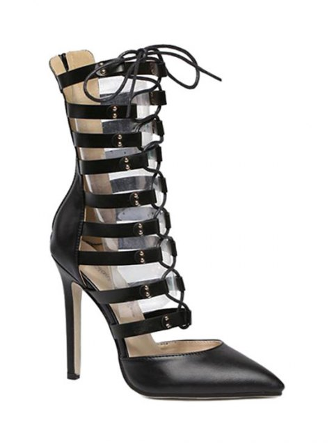 fashion Pointed Toe Hollow Out Lace-Up Pumps - BLACK 39 Mobile