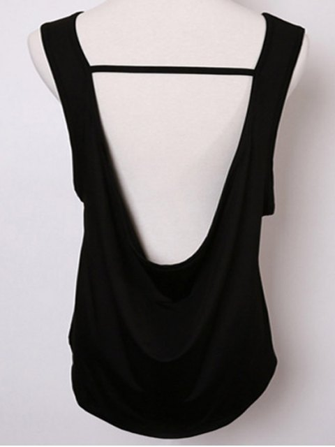 women Back Strap Relaxed Tank Top - BLACK L Mobile
