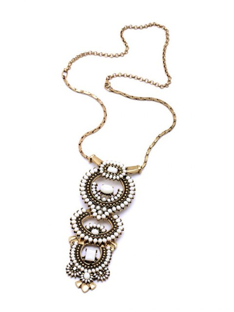 women's Vintage Bead Decorated Necklace - GOLDEN  Mobile