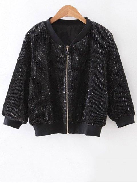 Solide Couleur pailletée stand Neck Jacket 3/4 Sleeve - Noir M Mobile