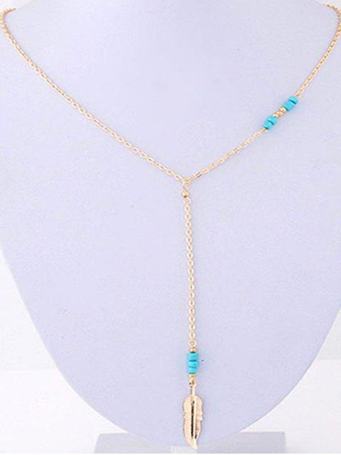 fancy Leaf Pendant Bead Necklace - GOLDEN  Mobile