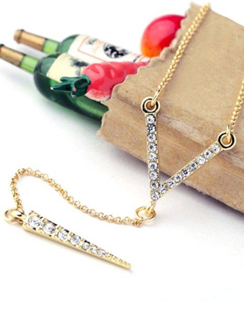 women Rhinestone Bullet Pendant Necklace - GOLDEN  Mobile